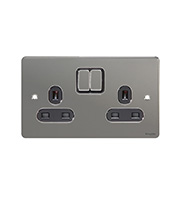 Schneider Electric GET Ultimate Flat Plate 2G Switch Sockets (Black Nickel)
