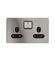Schneider Electric GET Ultimate Flat Plate 2G Switch Socket (Polished Chrome)