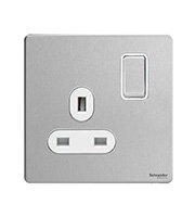 Schneider Electric Screwless Flat Plate 1G Switch (Stainless Steel)