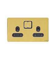 Schneider Electric Screwless Flat Plate 2G Switch (Polished Brass)