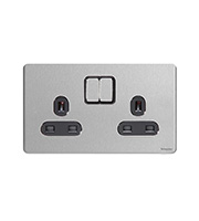 Schneider Electric GET Ultimate Screwless Flat Plate 2G Switch (Stainless Steel)