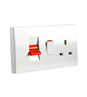 Schneider Electric DP Cooker Control Unit and 13A Switched Socket (White)