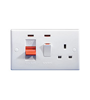 Schneider Electric DP Cooker Control Unit & 13A Switched Socket with Neon (White)