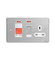 Schneider Electric Flat Plate 45A Cooker Panel and 13A Switched Socket (Stainless Steel)