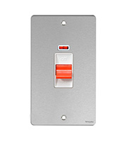 Schneider Electric GET Ultimate Flat Plate 45A 2G DP Switch with Neon (Stainless Steel)