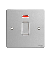 Schneider Electric GET 32A 1G Double Pole Switch with Neon (Stainless Steel)