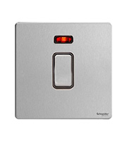 Schneider Electric Screwless 32A 1G Double Pole Switch with Neon (Stainless Steel)