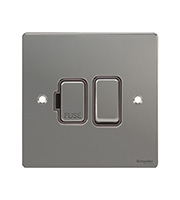 Schneider Electric Flat Plate 13A Fuse Spur DP Switch (Black Nickel)