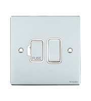 Schneider Electric Flat Plate 13A Fuse Spur DP Switch (Polished Chrome)