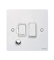 Schneider Electric Flat Plate 13A Fuse Spur DP Switch with Flex Outlet (White)