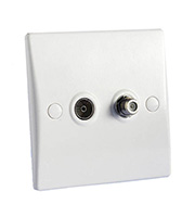 Schneider Electric GET Ultimate Twin Gang Satellite Co-axial Socket (White)