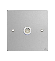 Schneider Electric Ultimate Flat Plate 1G Co-ax Socket (Stainless Steel)
