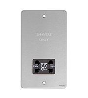 Schneider Electric Flat Plate 115/230V Dual Voltage Shaver Socket (Stainless Steel)