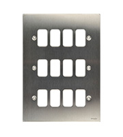 Schneider Electric Ultimate Grid Metal 12 Gang Flush Plate (Stainless Steel)