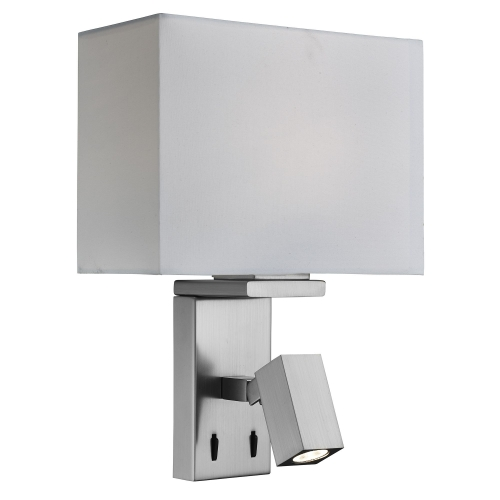 Searchlight Satin Silver Wall Light With Led Reading Light