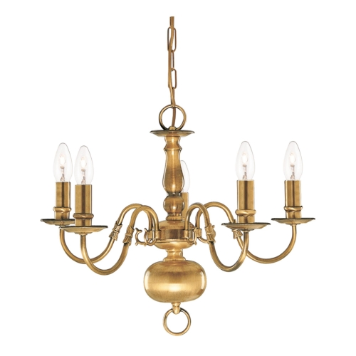 Searchlight Flemish Solid Antique Brass 5 Light Chandelier With Metal Candle Covers