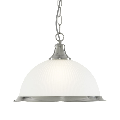 Searchlight American Diner Satin Silver Pendant With Acid Ribbed Glass