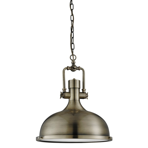 Searchlight Antique Brass Industrial Pendant Light With Frosted Diffuser SALE ITEM