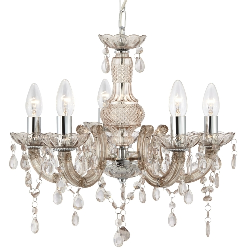 Searchlight Marie Therese Mink 5 Light Chandelier With Acrylic Glass Drops
