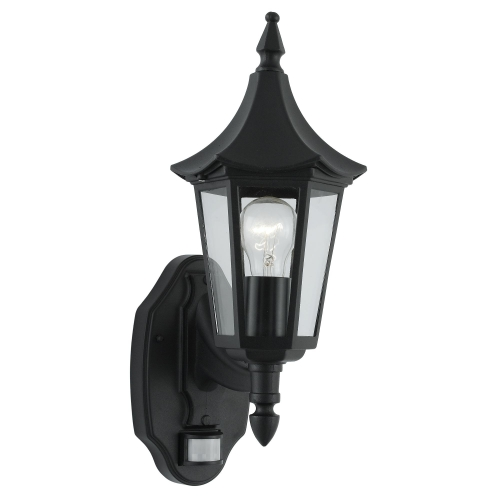 Searchlight Bel Aire Aluminium Ip44 Black Outdoor Wall Light, Clear Glass, Sensor
