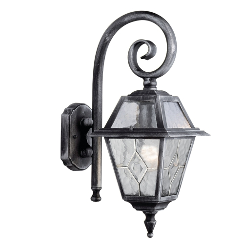 Searchlight Genoa Aluminium Ip44 Black Silver Outdoor Wall, Lead Glass Design