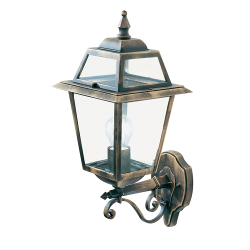Searchlight New Orleans Aluminium Ip44 Black Gold Outdoor Wall Light, Clear Glass