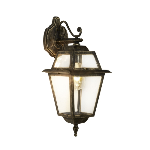 Searchlight New Orleans Aluminium Ip44 Black Gold Outdoor Wall Bracket With Clear Glass