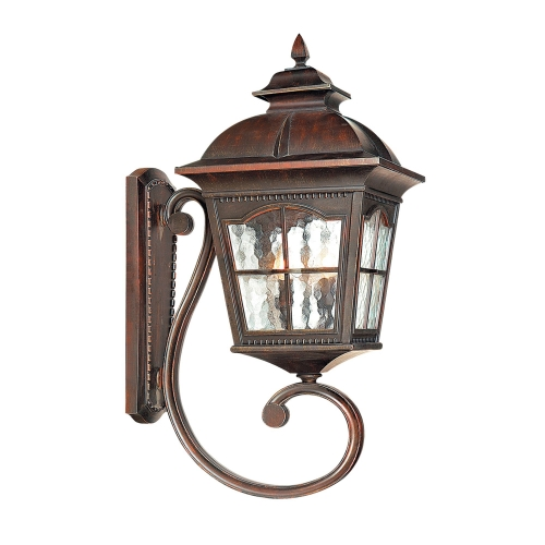 Searchlight Pompeii Aluminium IP44 Brown Stone Outdoor Wall Uplighter With Textured Glass