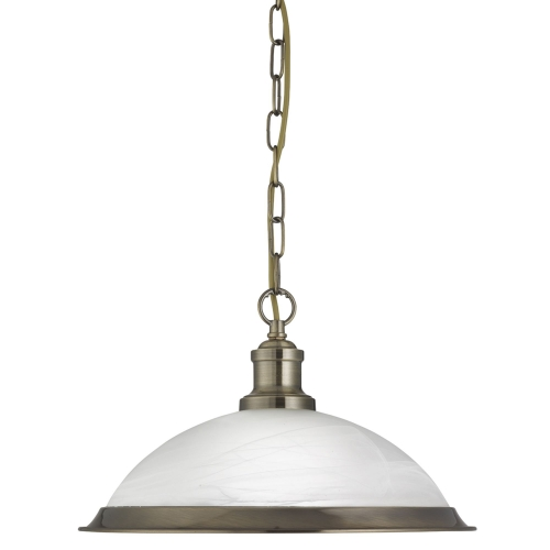 Searchlight Bistro Antique Brass Pendant Light With Marble Glass Shade