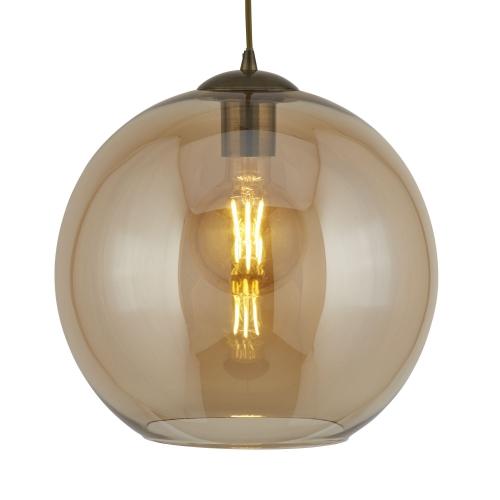 Searchlight Balls 1 Light Round Pendant (25cm Dia), Amber Glass, Antique Brass