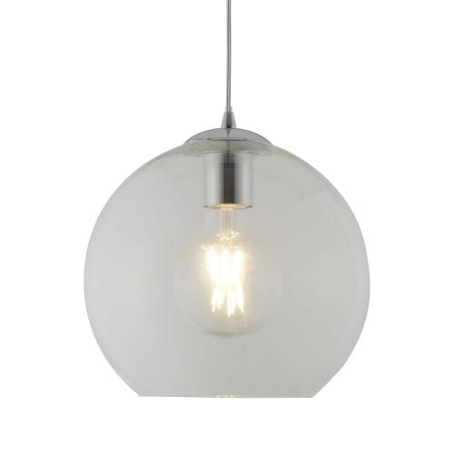 Searchlight Balls 1 Light Round Pendant (25cm Dia), Clear Glass, Chrome