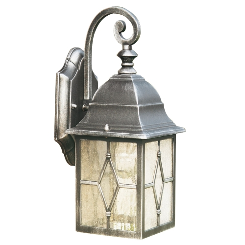 Searchlight Genoa Die Cast Aluminium Ip23 Black & Silver Outdoor Wall Light
