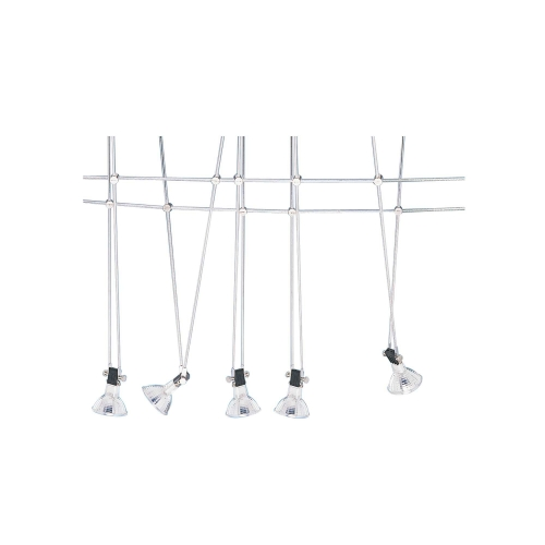 Searchlight 5 Light Led Chrome Cable Kit, Adjustable Spotlights