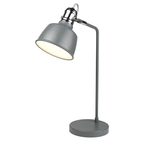 Searchlight 1 Light Table Lamp, Matt Grey, Chrome Detail