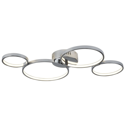 Searchlight 4 Ring Led Ceiling Flush, Chrome