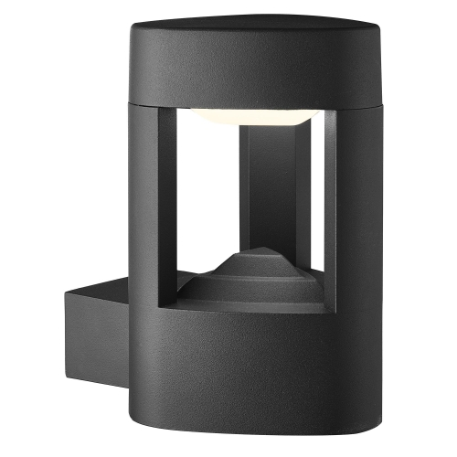 Searchlight Aluminium Ip44 Grey Led Outdoor Wall Light, Clear Polycarbonate Shade