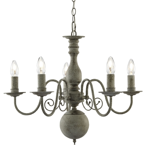 Searchlight Greythorne Steel 5 Light Fitting With Textured Grey Finish