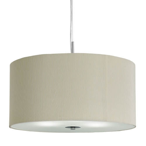 Searchlight Cream Drum Pleat 3 Light Pendant With Frosted Glass Diffuser