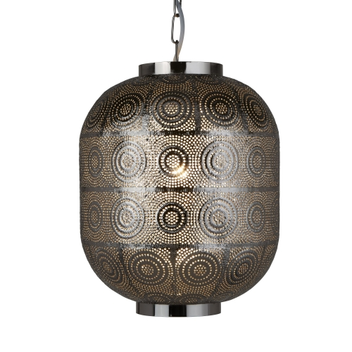 Searchlight 1 Light Moroccan Style Pendant, Shiny Nickel