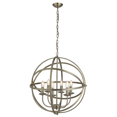 Searchlight Orbit Antique Brass 6 Light Spherical Pendant Light