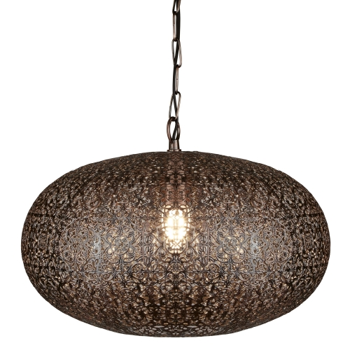 Searchlight 1 Light Moroccan Pendant, Antique Copper