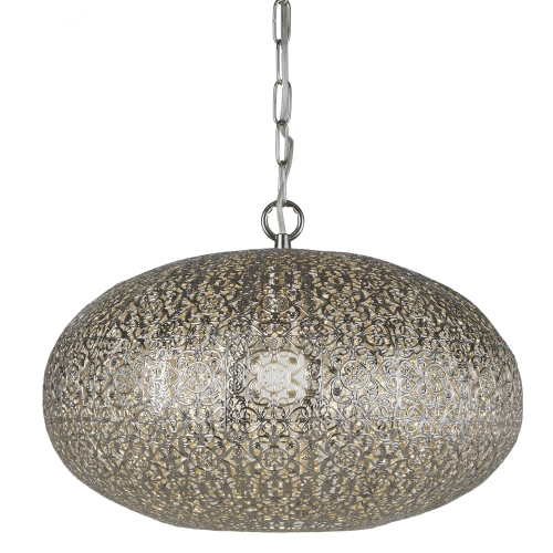 Searchlight 1 Light Moroccan Pendant, Shiny Nickel