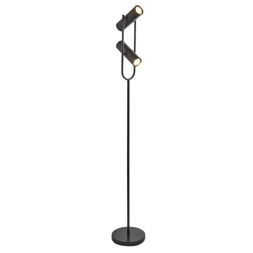 Searchlight 2 Light Spotlight Cylinder Shade Floor Lamp, Matt Black, Adjustable Head