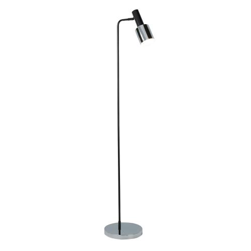 Searchlight 1 Light Spot/task Floor Lamp, Black, Chrome Shade