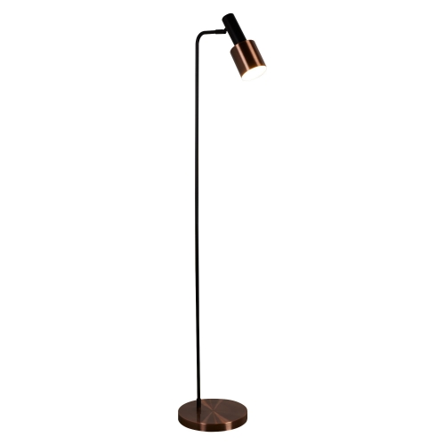 Searchlight 1 Light Spot/task Floor Lamp, Black, Antique Copper Shade