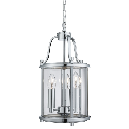 Searchlight Victorian Lantern Chrome 3 Light Ceiling Fitting With Clear Glass Panels SALE ITEM