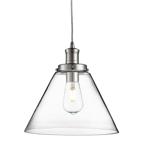 Searchlight Pyramid Chrome Pendant Light With Clear Glass Shade SALE ITEM