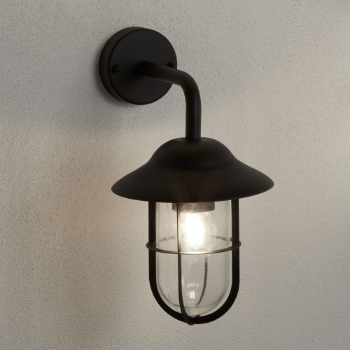 Searchlight Toronto Ip44 Matt Black Outdoor Wall Lantern Clear Glass