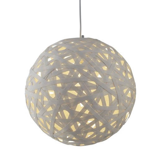 Searchlight 1 Light Large Paper Rattan Pendant (50cm Dia), White