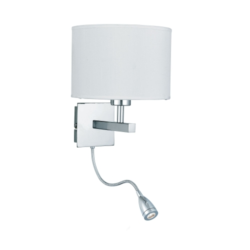 Searchlight Chrome Wall Light With White Shade Incorporating Led Flexi-arm